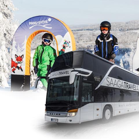 Saaga Travelin skibus Pikku-Syötteelle lauantaisin kevättalven 2021 ajan